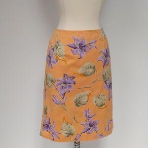 Jones New York orange  cotton A-line skirt-sz 6P